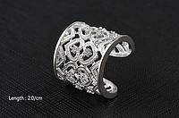 Посеребренное резное кольцо, инкрустированное кристаллами, высокое качество, ювелирное изделие