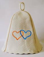 Шапка для бани и сауны с вышивкой 100% шерсть сердца Украины