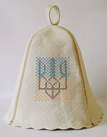 Шапка для бани и сауны с вышивкой 100% шерсть Тризубец