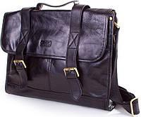 Деловая кожаная сумка-портфель на плечо ETERNO (ЭТЭРНО) ET9888 черный