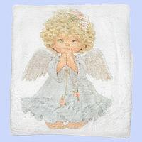 Крыжма (плед) для крещения младенца, изготовлена из рваной махры, украшена рисунком, ТМ Ромашка, 100х90 см