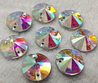 Стразы пришивные Риволи (круг) d10 мм Crystal AB, стекло