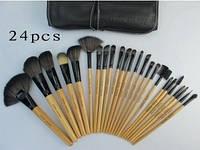Набор профессиональных кистей для визажа, из 24 шт, натуральный ворс, деревянные ручки, bobbi brown