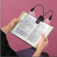Светодиодный фонарь на гибкой подставке, для чтения книг, крепление с помощью прищепки, работает от батареек