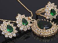 Ювелирный набор: кольцо, серьги, кулон и цепочка, покрытие золотом 18К, куб. цирконий