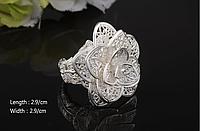Посеребренное кольцо Большая роза (крупное кольцо), ювелирное изделие, высокое качество, кольцо-подарок