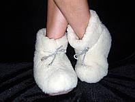 Сапожки Снегурочки меховые из натуральной овчины  с серебряным декором (шнур)