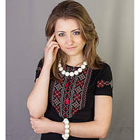 Женская футболка вышиванка кружево с вышитым рукавом в 4 цветах до 56 размера