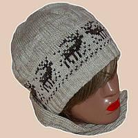 """Вязаная зимняя шапка в этническом стиле с орнаментом """"олени"""""""