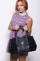 Замшевая дамская сумка Prada синего цвета с кожей крокодила