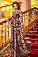 Шикарное платье в пол из леопардового шифона