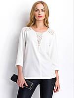 Женская белая блуза с кружевными вставками. Модель Р87 Sunwear, коллекция осень-зима 2015