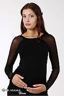 """Облегающий джемпер для беременных """"Lora light"""" с рукавом реглан из вискозного трикотажа, черный"""
