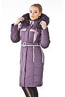 Женская зимняя куртка удлиненная с натуральным мехом