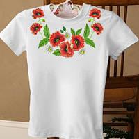 Женская футболка-вышиванка с красными маками