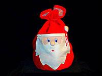 Мешок Деда Мороза для подарков, красный, вельветовый, с тканевой аппликацией (52*31 см)