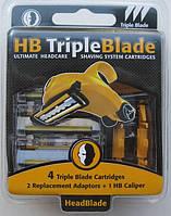Лезвия для бритвы HeadBlade HB3 Triple Blade, 4 штуки в упаковке, из США