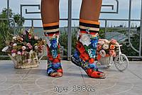 """Молодежные женские тканевые сапоги """"Ван Гог - открытый носок 2"""""""