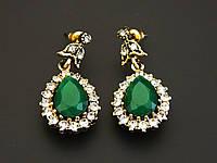 Серьги османские зеленый камень.