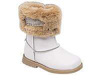 Сапожки зимние кожаные на девочку  LAPSI белые 25-30