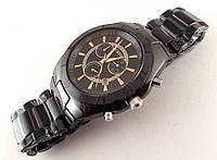 Мужские часы RADO  high-tech керамика, цвет циферблата черный c золотом, сапфировое стекло