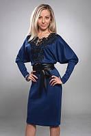 Платье однотонное с красивым ажурным узором 210-2