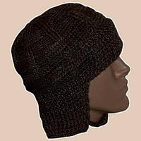 Мужская вязаная зимняя шапка-ушанка коричневого цвета