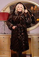 Шуба женская коричневая с поясом М-102
