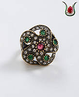 Турецкое женское кольцо в османском стиле,латунь,безразмерное.