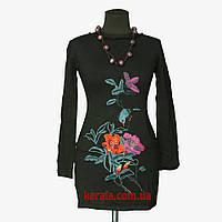 Мини-платье вышитое Черное