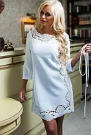 Платье женское перфорация с пояском в расцветках 2740