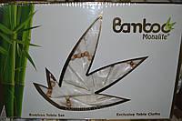 "Скатерть Monolit Bamboo ""Белая"" на 8 персон с кольцами 160х220см. Турция mon-06"