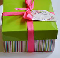 Упаковка подарочная (коробочка+сизаль+атласная лента)