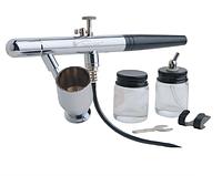 Аэрограф профессиональный в комплекте со шлангом и баночками
