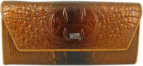 Стильный, элегантный кожаный женский кошелек WANLIMA (ВАНЛИМА) W72042420166 коричневый