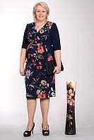Батальное женское платье в цветочный принт