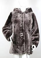 Полушубок из мутона серо-коричневый с капюшоном 1381