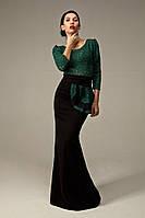 Вечернее платье с гипюровым верхом с поясом на завязках., фото 1
