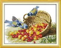Птицы и ягоды Набор для вышивки крестом с печатью на ткани 14ст