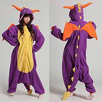Пижама кигуруми kigurumi костюм дракон фиолетовый