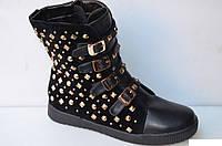Ботинки зимние замшевые черные на шнурках и пряжках С188