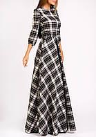 Черно-белая классика -платье макси в клетку