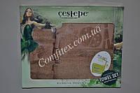 """Комплект бамбуковых полотенец Cestepe Bamboo Deluxe """"Кофе с молоком"""" (Баня, лицо) - Турция 2325"""