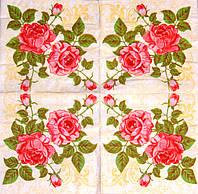 Салфетки декуражные Ветка красных роз 42
