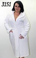 Махровый халат белый с капюшоном