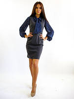 Женский серый сарафан офисного стиля