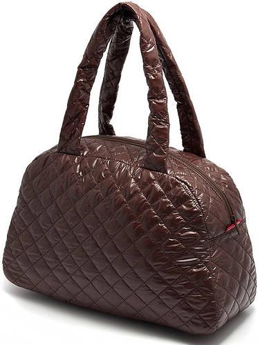 Повседневная стеганая женская сумка POOLPARTY ns4 коричневая; черная; серебристая