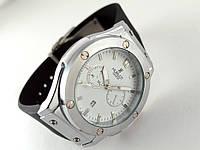 Мужские часы HUBLOT - Big Bang каучуковый черный ремешок, цвет серебро
