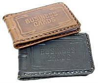 """Оригинальная компактная визитница односекционная (натуральная кожа) """"Business cards"""""""