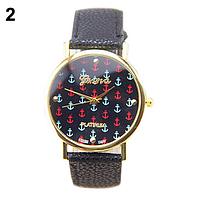 Женские кварцевые наручные часы Женева на ремешке из искусственной кожи, цвет черный, с рисунком Якорек